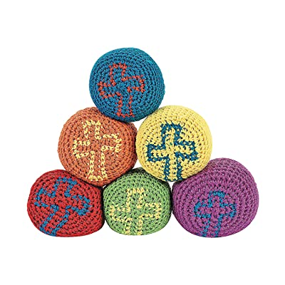 Fun Express Religious Cross Knitted Kick Balls (Set of 12) Sunday School and VBS Supplies: Toys & Games