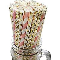 BELLE VOUS Strohhalme (100 Stück) - Papier Trinkhalme 20 Gold, 20 Rosa, 20 Gestreifte, 20 Herz Folie, 20 Gepunkteter Biologisch Abbaubare Papierstrohhalm für Hochzeit Geburtstag Party