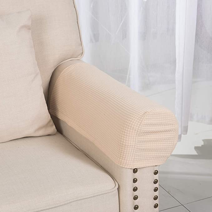 Armrest Covers Anti Slip Waterproof Furniture Protector Armchair Slipcovers For Recliner Sofa Set Of 2 Beige Home Kitchen