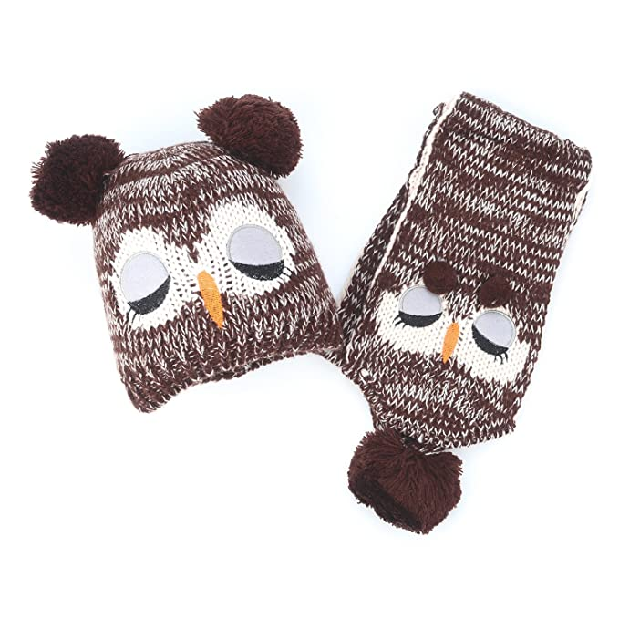 e0cfd8bad30 Flammi Kids Knit Owl Pompom Beanie Hat Scarf Set  Amazon.ca  Clothing    Accessories