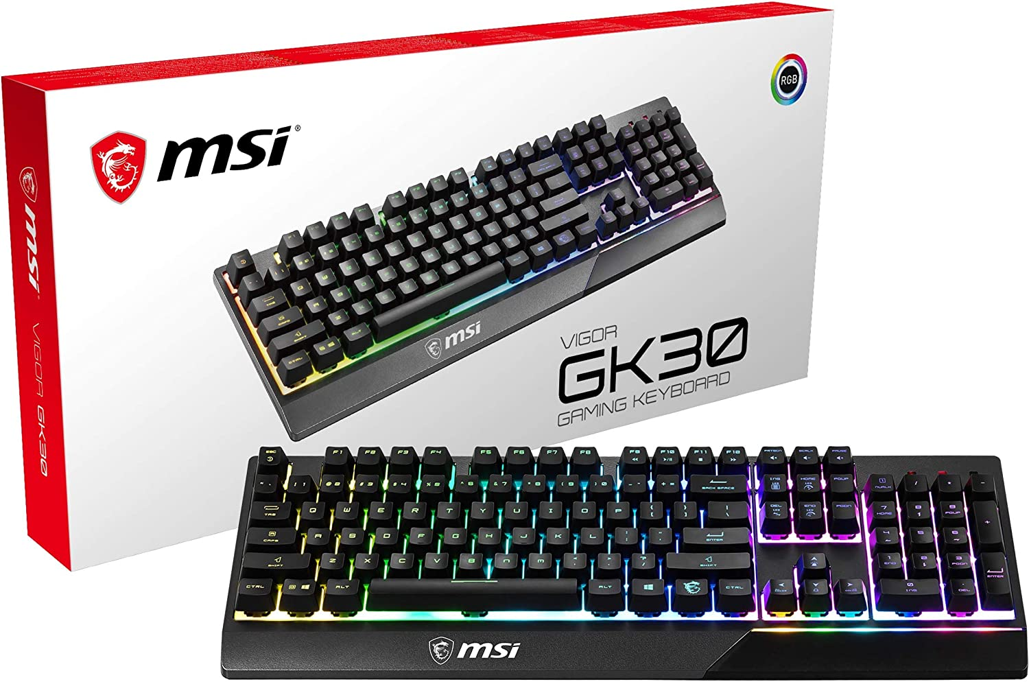 MSI Gaming Backlit RGB Dedicated Hotkeys Anti-Ghosting Water Resistant Mechanical Feel Gaming Keyboard (Vigor GK30 US)
