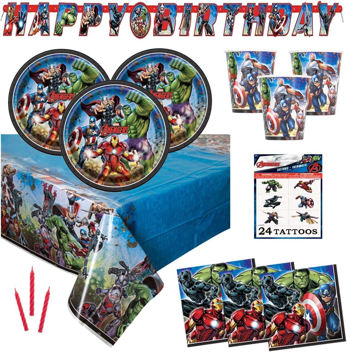 Superhero Birthday Party Decoration Happy Birthday Banner Avengers Aluminum Balloon Superhero Balloon Cake Toppers for Superhero Themem Party Supplies Superhero Avengers Party Decorations