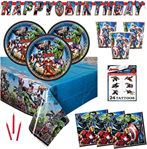 Avengers Birthday Party Supplies Set - Serves 16 - Includes Banner Decoration, Tablecover, Plates, Cups, Napkins, Tattoos and Candles