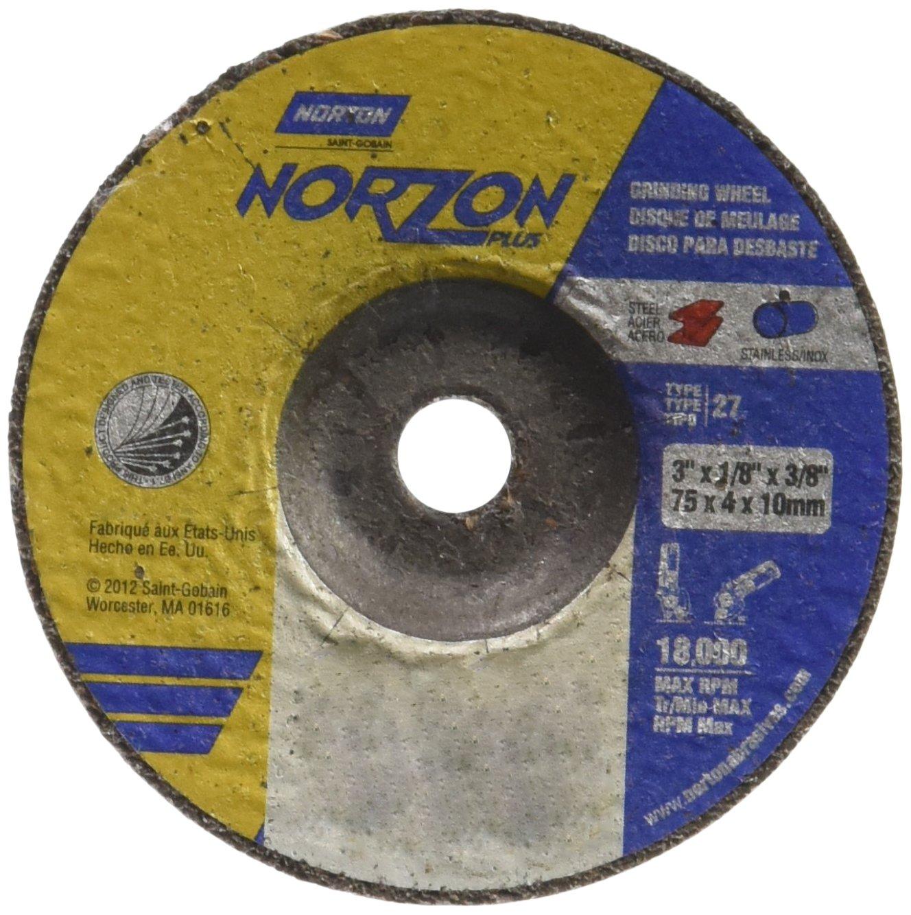 Norton Norzon Plus Depressed Center Abrasive Wheel, Type 27, Zirconia Alumina, 3/8'' Arbor, 3'' Diameter x 1/8'' Thickness (Pack of 25)