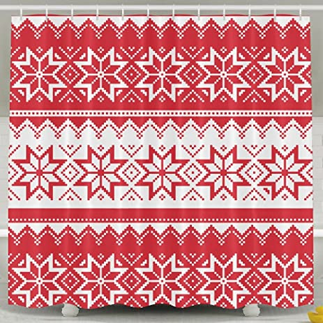 Ugly Christmas Sweater Pattern Wallpaper Shower Curtains