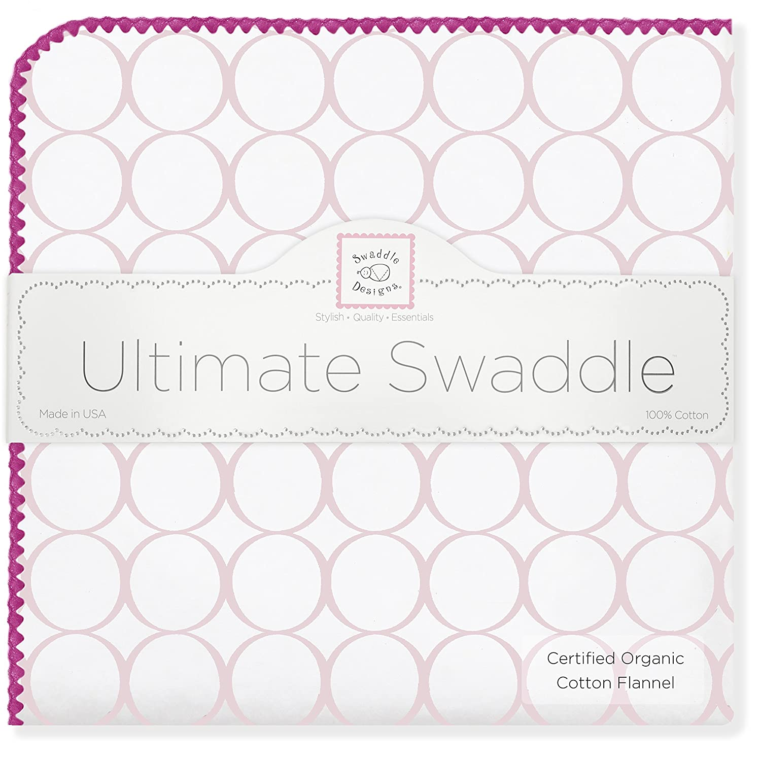 SwaddleDesigns Organic Ultimate Receiving Blanket, Mod Circles, 1-Pack SD-161PP