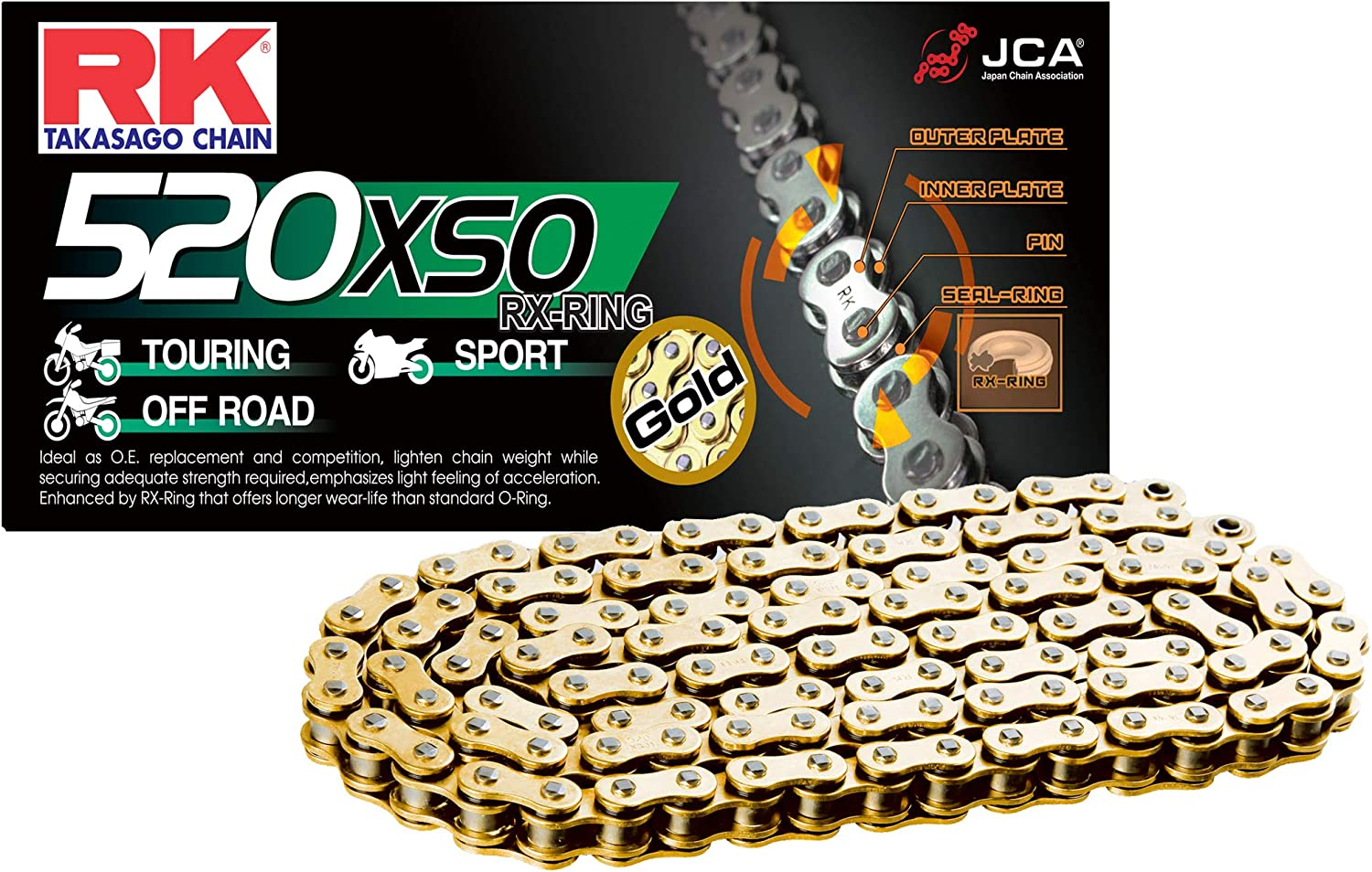 RK Racing Chain 520-SO-102 102-Links O-Ring Chain with Connecting Link