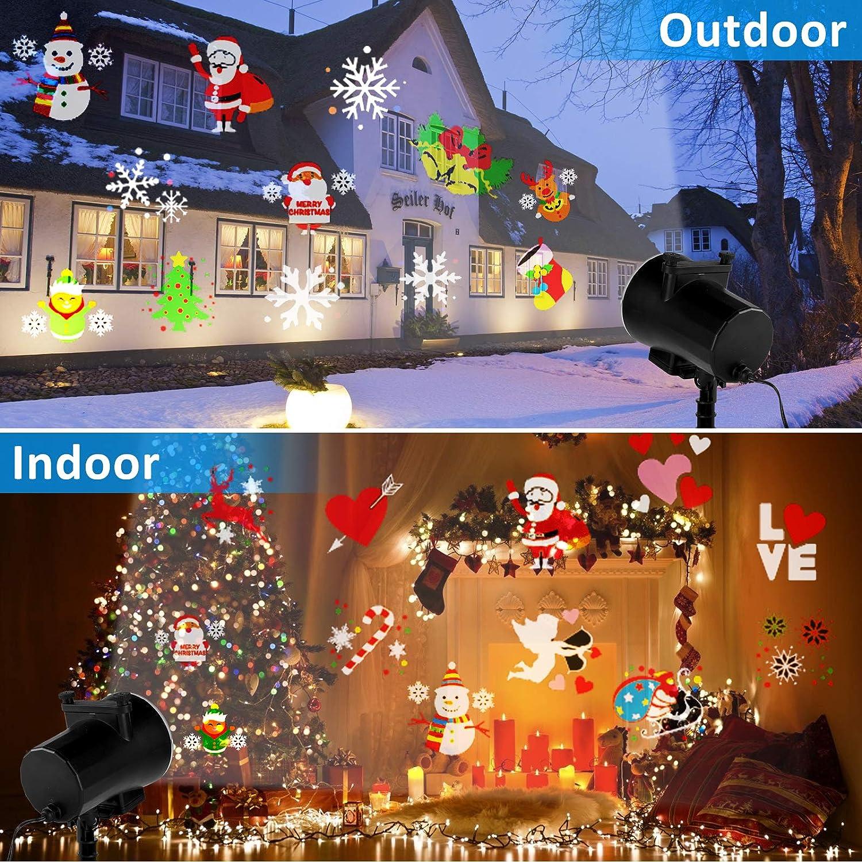Realce L/ámpara de Proyecci/ón de Navidad con 16 Diapositivas y Control Remoto Proyecci/ón Interior y Exterior Decoraci/ón Para Navidad Fiesta,Boda,Festival,Valent/ín Qomolo Luces Proyector Navidad LED
