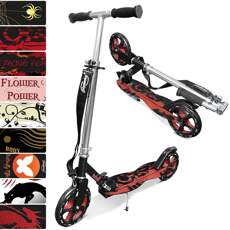 Rebel (Blackred) Physionics Scooter with Adjustable Shoulder Strap Ergonomic AntiSlip Step Area