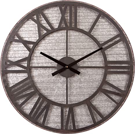 Rustic Galvanized Metal Cut Out Wall Clock Home Kitchen