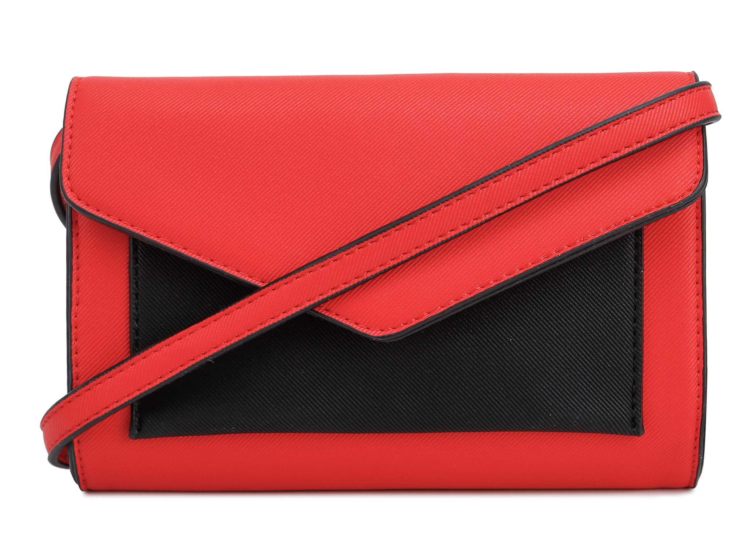 Lily Jane Women's Envelope Clutch Crossbody Wallet (Red/Black)