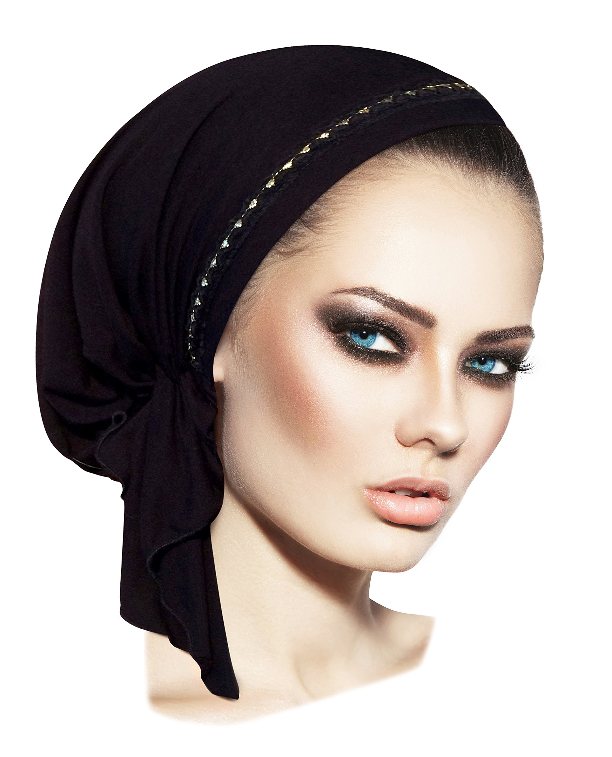 ShariRose Black Tichel Headscarf Black Gold Lace (Black Gold Lace - 326)