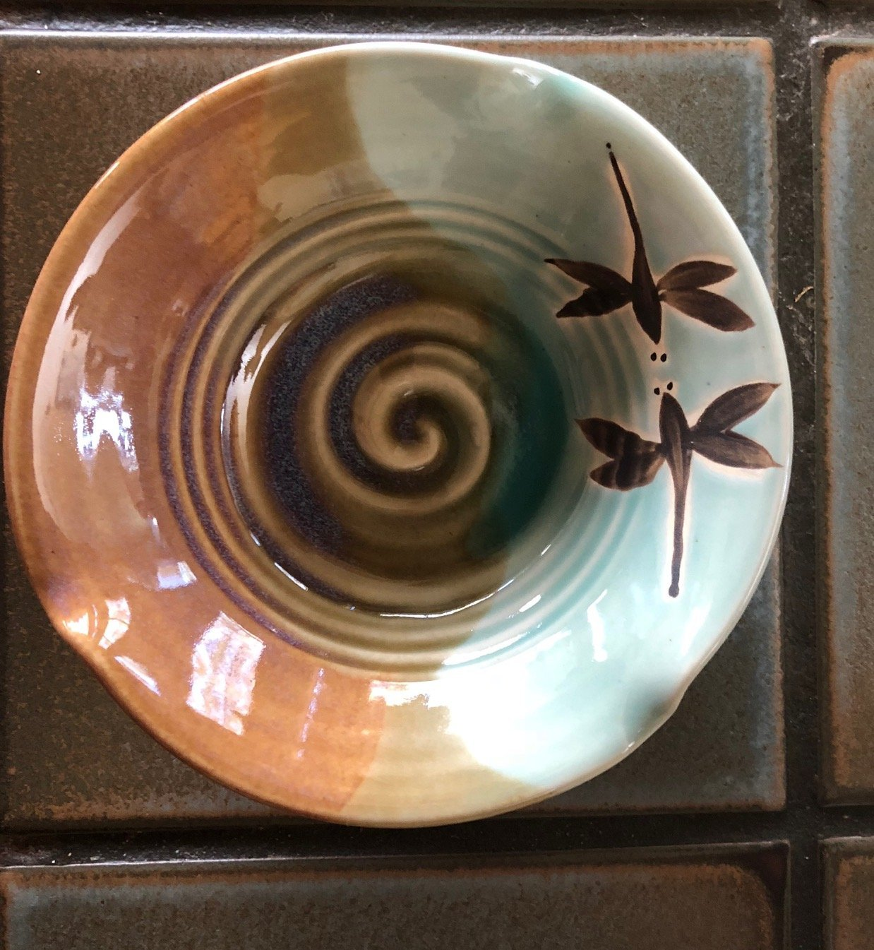 Pottery Handmade Dragonfly Bowl, Ceramic Dragonfly Dish