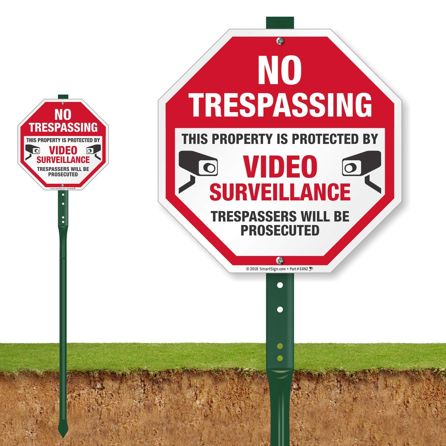 SmartSign ''No Trespassing - This Property is Protected by Video Surveillance, Trespassers Will Be Prosecuted'' Sign for Lawn | 10'' Octagon Aluminum Sign with 3' Stake [New] by SmartSign