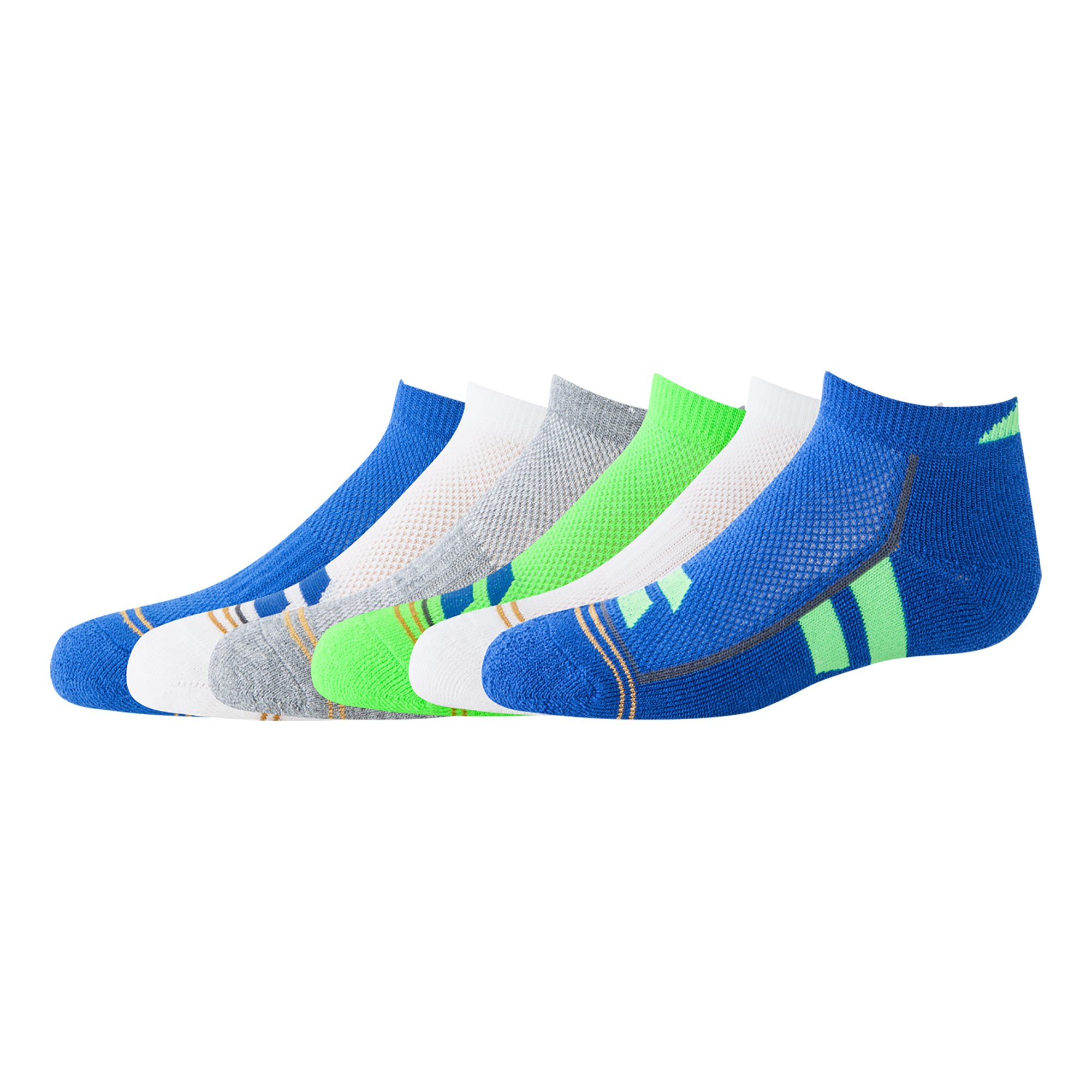 Gold Toe Big Boys' Ultra Tec No Show, 6-Pair, Color Block Royal/Green, Large