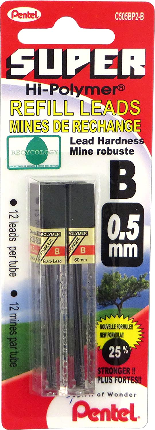 Pentel Super Hi-polymer Lead Refills, 12 Leads Per Tube, 3h Grade, 0.5mm Point Size, 144 Pieces Of Lead 12 - C505-3H