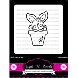 Pyo rabbit Easter Cookie stencil - cupcake designs for air brush - Royal icing