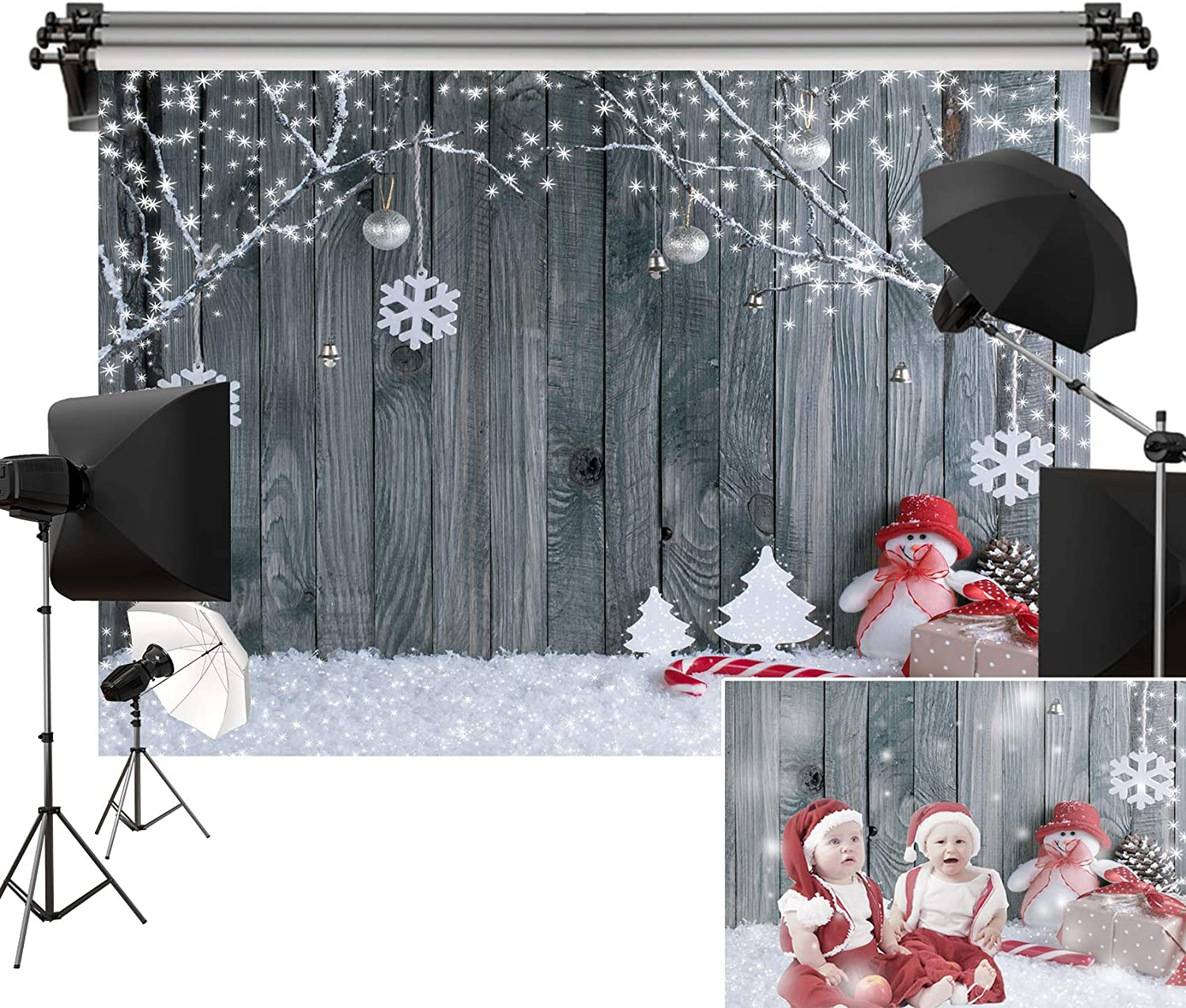 Kate 7x5ft/2.2m(W) x1.5m(H) Christmas Backdrop Wood Wall Backgrounds Winter Holiday Backdrops Snow Xmas Decorations Photography Studio Props