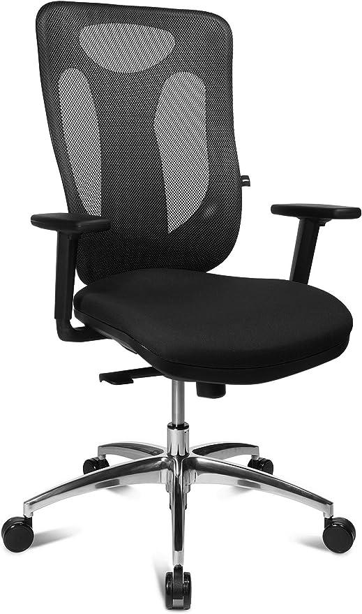 Topstar Sitness Net Pro 100, ergonomischer Bürostuhl, Schreibtischstuhl, Punktsynchronmechanik, inkl. höhenverstellbaren Armlehnen, Stoff, schwarz