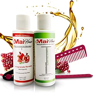 Brazilian Keratin Hair Treatment Complex and Clarifying Shampoo Kit – Professional Effective Fast Acting Formula Infused with Organic Pomegranate and Argan Oil