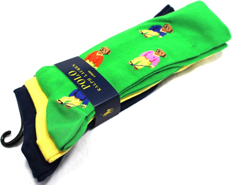 Ralph Lauren calcetines de la novedad del oso 3 paquete verde amarillo azul marino mezcla BNWT del algodón NUEVO: Amazon.es: Ropa y accesorios