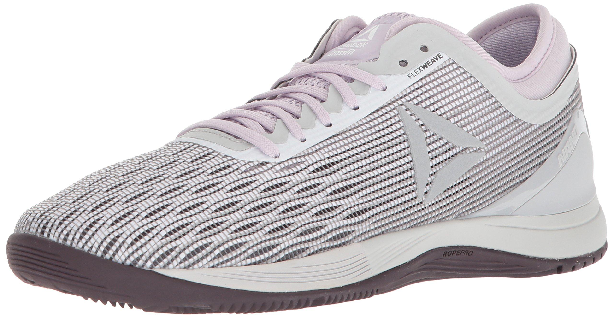 Reebok Women's Crossfit Nano 8.0 Sneaker, White/Stark Grey/Quartz/s, 9.5 M US