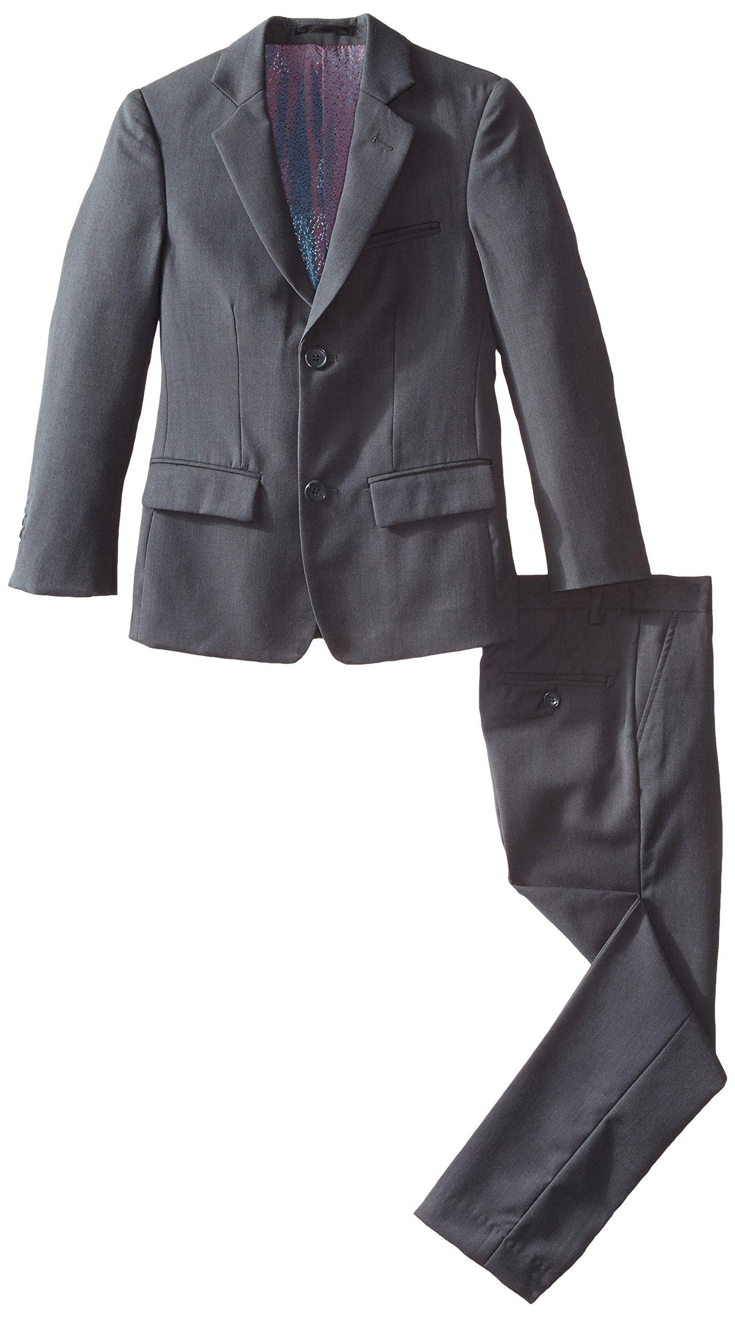 Isaac Mizrahi Big Boys' Slim Boys 2 Piece Cut Linen/Cotton Suit, Dark Grey, 18