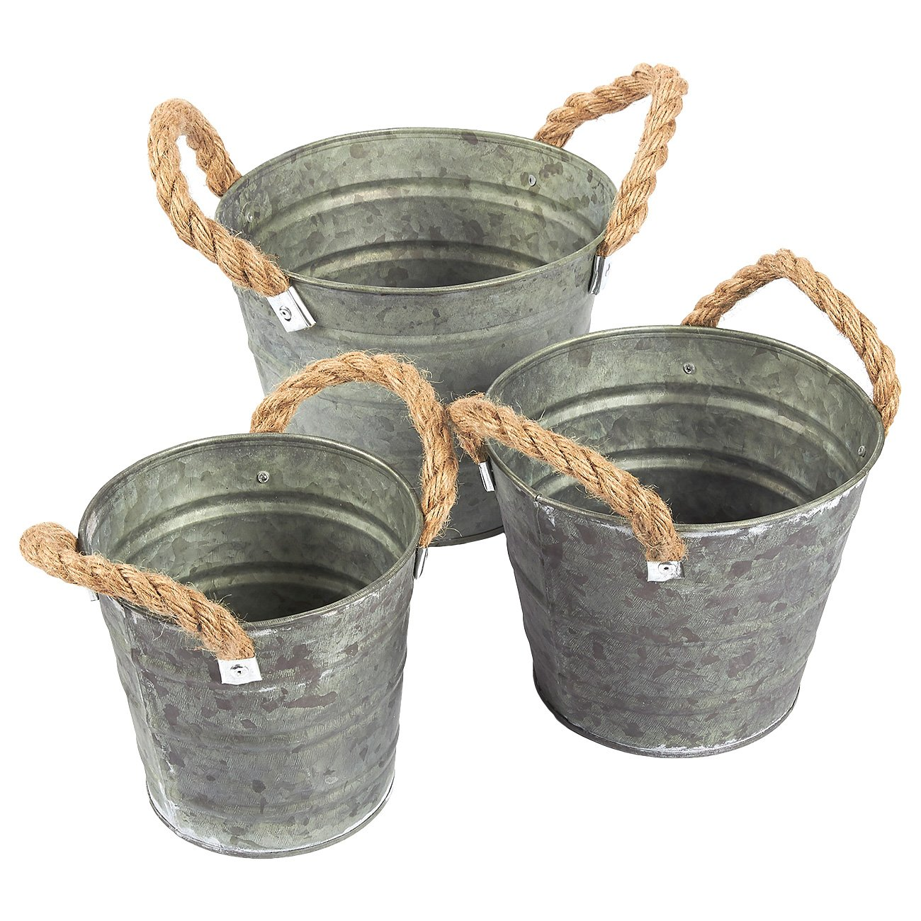 3-Set Vintage Galvanized Planter Buckets - Garden Bucket with Rope Handles, Galvanized Metal Pail, Ideal for Planting, Decoration, Storage, Gray, 3 Sizes.