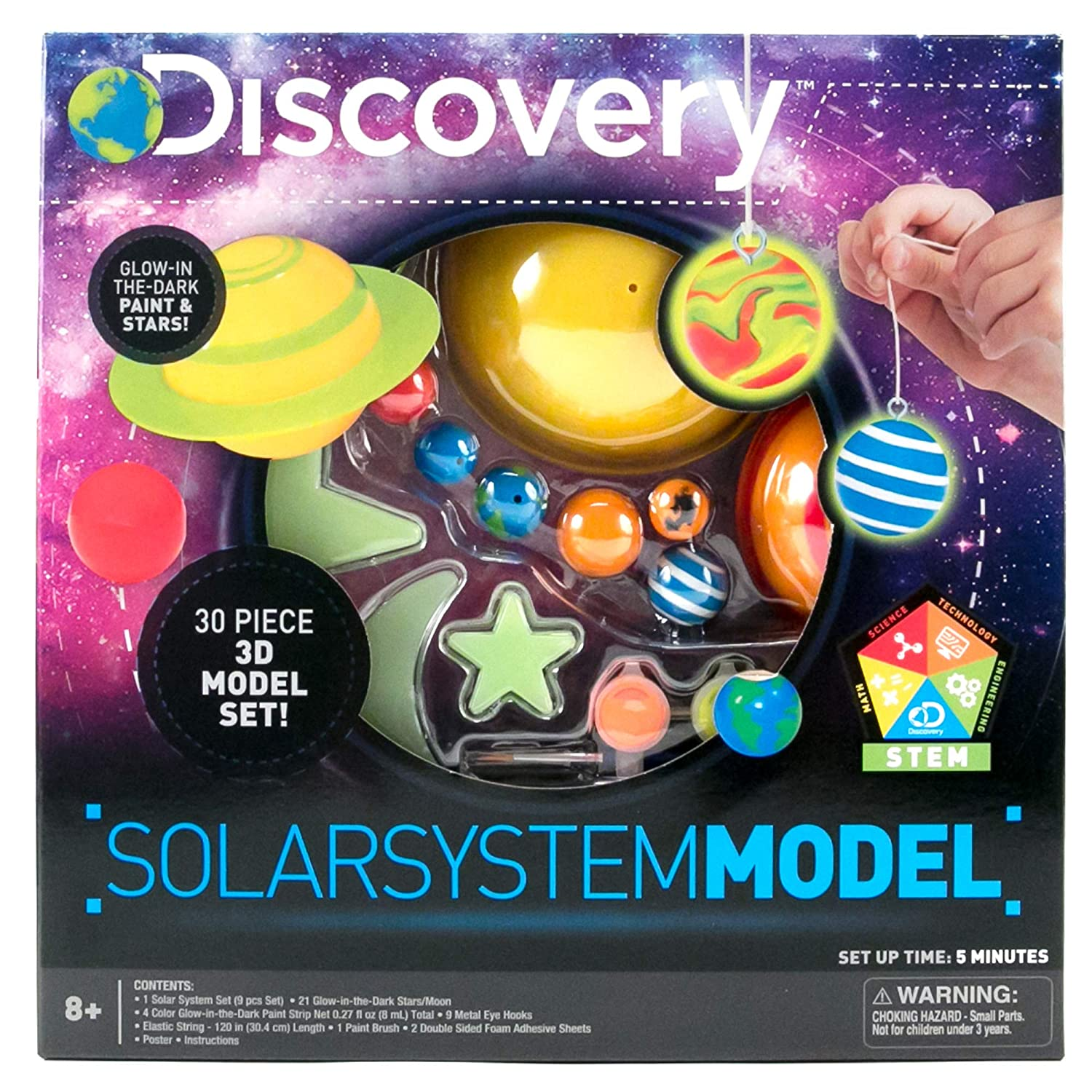 Discovery 3D Solar System by Horizon Group USA, Great Stem Science Kit, 1  Solar System, 4 Glow In The Dark Paints, 21 Glow In The Dark Ceiling & Wall