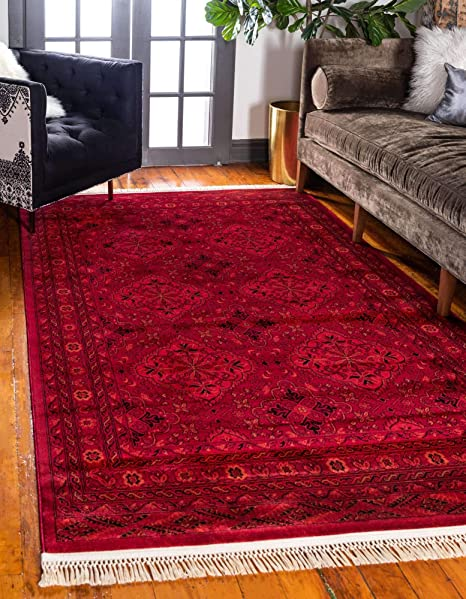 Amazon Com Unique Loom Tekke Collection Tribal Traditional Torkaman Red Area Rug 7 0 X 10 0 Furniture Decor