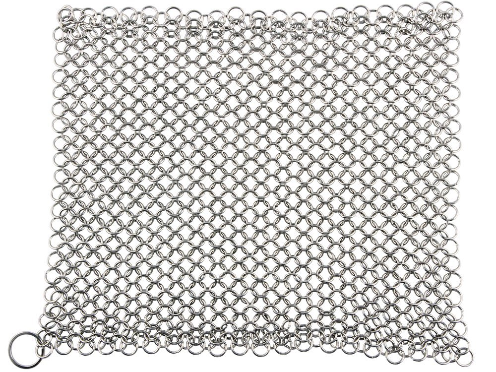 Cast Iron Cleaner and Scrubber by Küche Chef. XL 8x8 Inch Premium 316 Stainless Steel Chainmail Scrubber by Kuche Chef (Image #2)