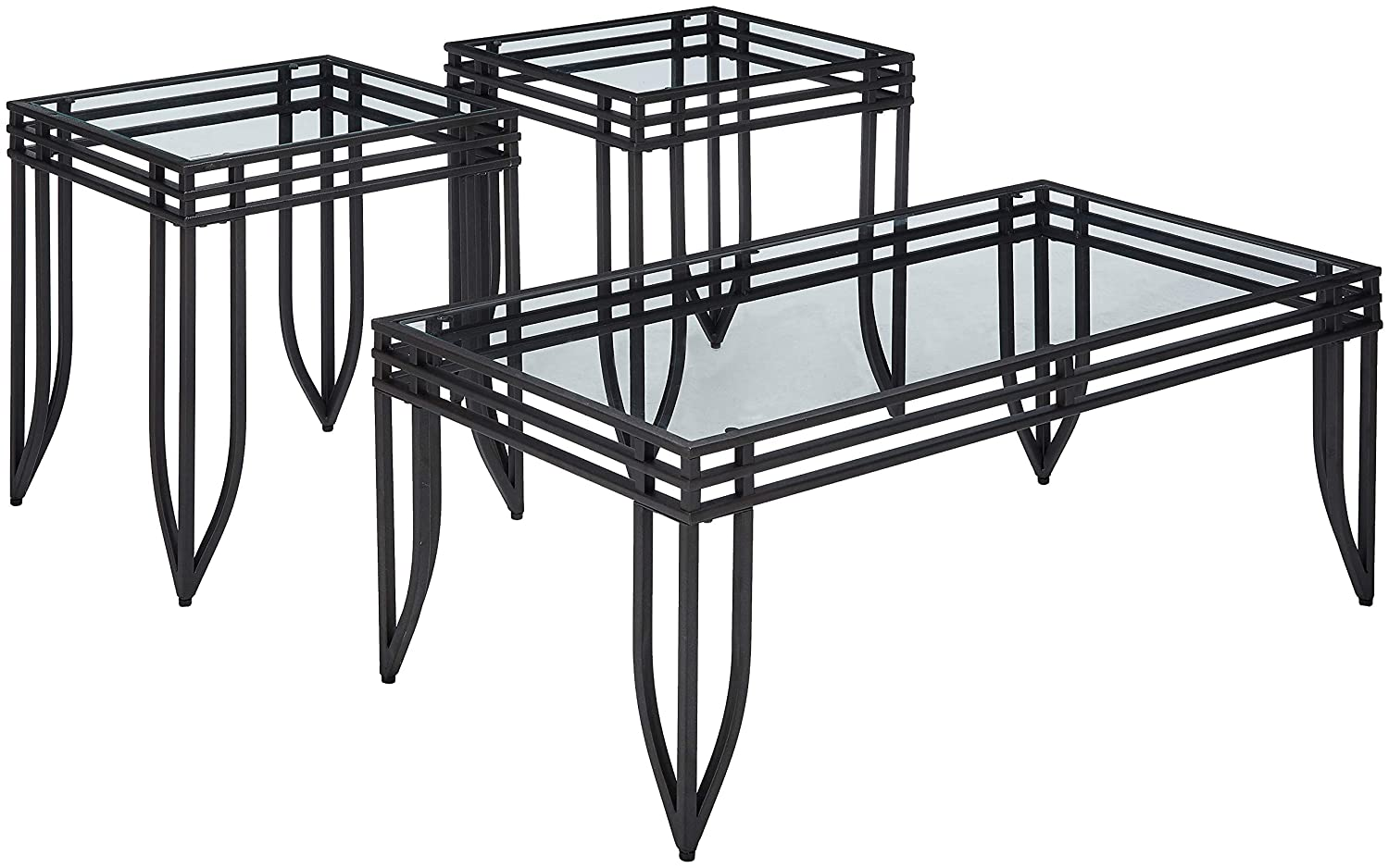 Roundhill Furniture 3307 Matrix 3-in-1 Metal Frame Accent Coffee & 2 End Table Set RH