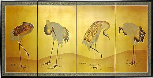 Oriental Furniture Gold Leaf Crane