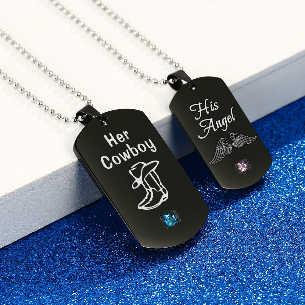 GAGAFEEL Couples Necklace His Angle Her Cowboy CZ Pendant Dog Tag Necklaces Anniversary Gift for Friends Women Men (His Angle Her Cowboy)
