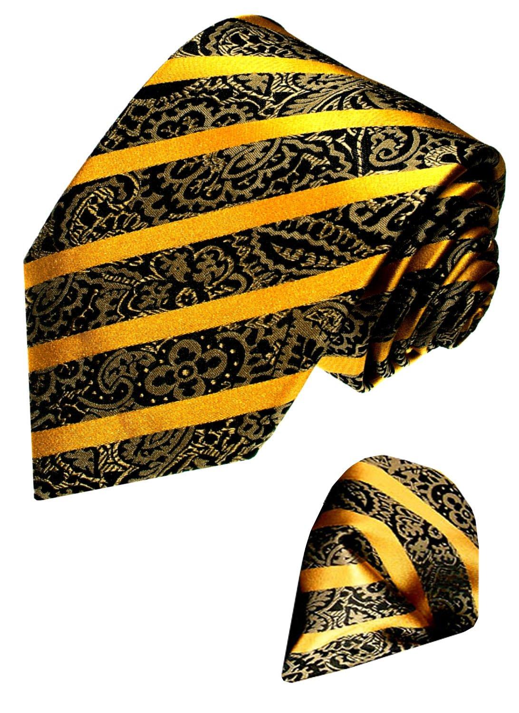 LORENZO CANA Italian 100% Silk Tie Set Necktie Hanky Golden Brown Baroque 84327