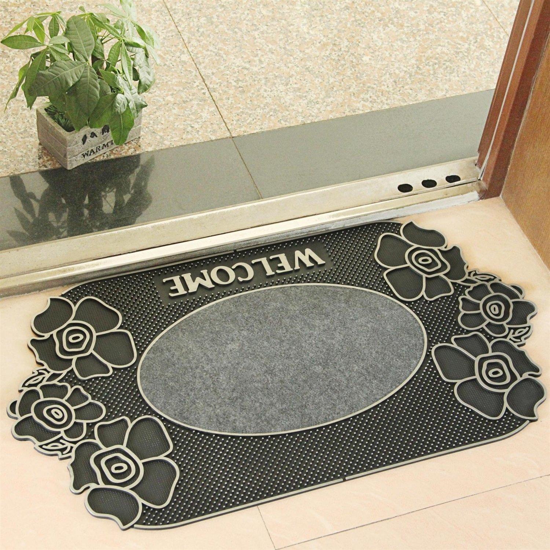 LongYu Carpet rug Rubber mat door bathroom kitchen anti-slip door mat rub plastic soil mats design pattern (Size : 4580cm, Style : F-2)