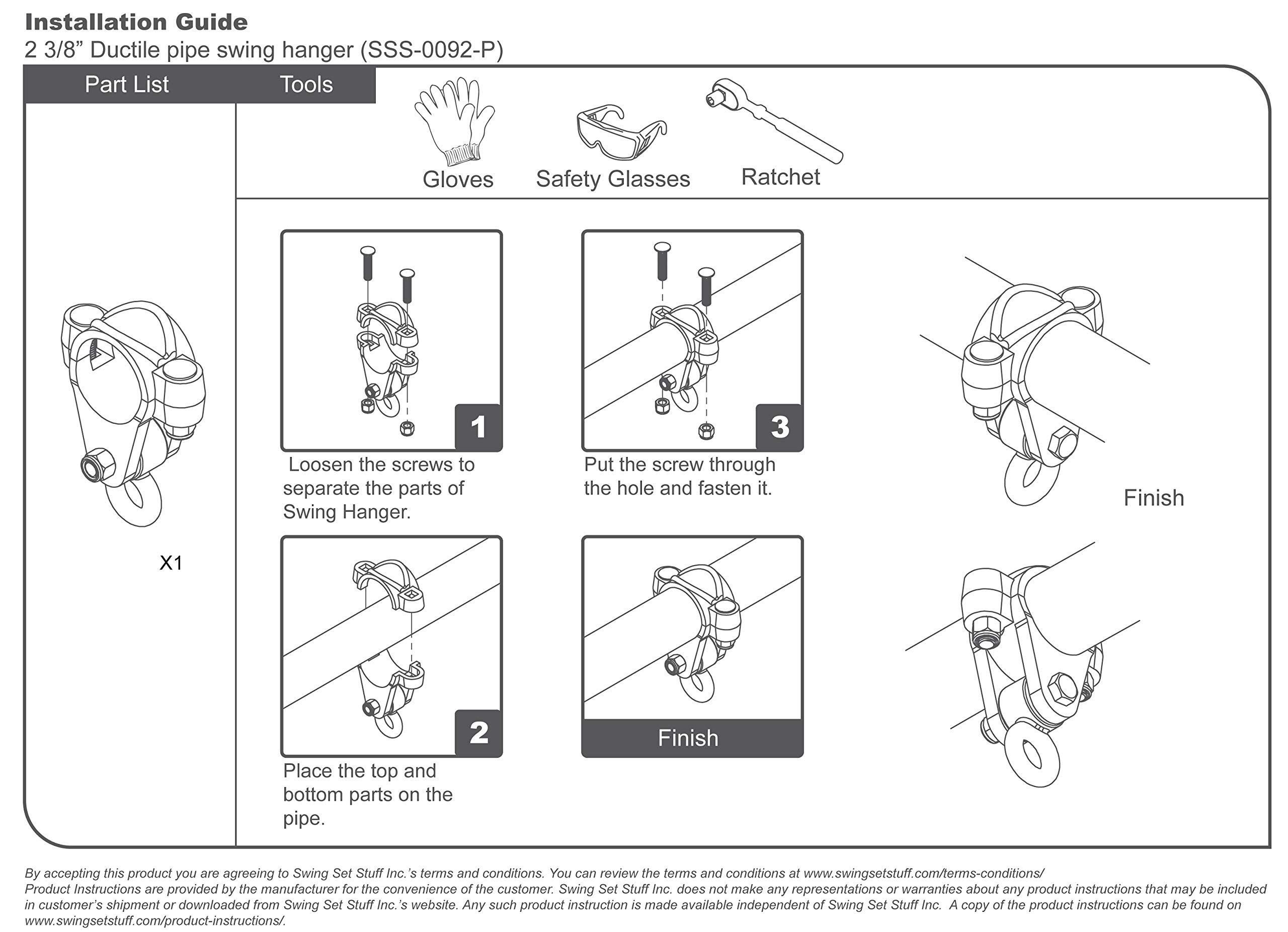 Swing Set Stuff Ductile Pipe Swing Hanger with SSS Logo Sticker, 2 3/8'' by Swing Set Stuff Inc.