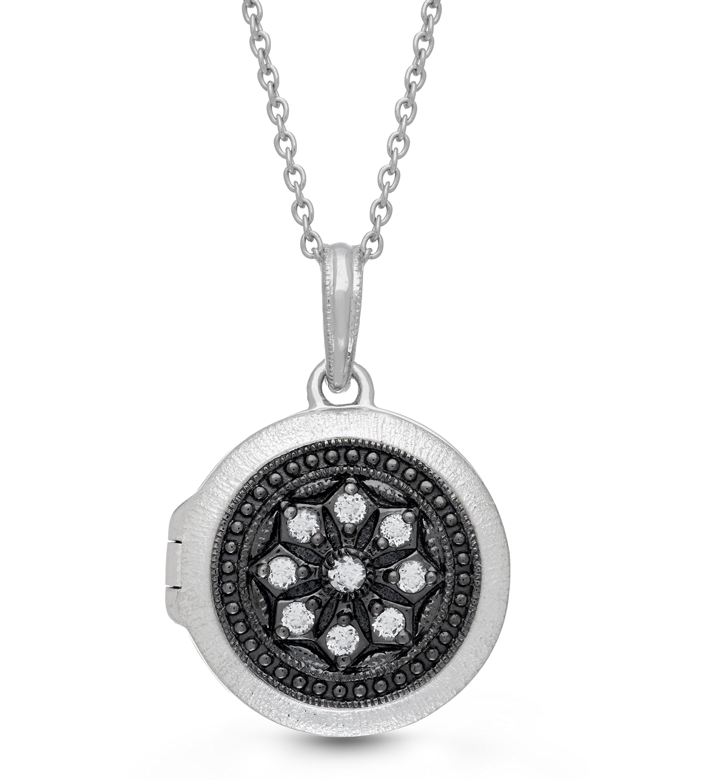Oxidized-Sterling Silver-White Topaz-Custom Photo Locket Necklace-26inch chain-The Roxy by With You Lockets
