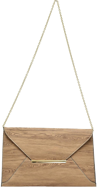 Hearty Trendy Brown Wood Grain Gold Closure Envelope Shoulder Purse Evening Bag Clutch