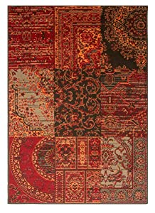 The Rug House Tapis Traditionnel Rouge, Marron & Gris - 7 Tailles Disponibles