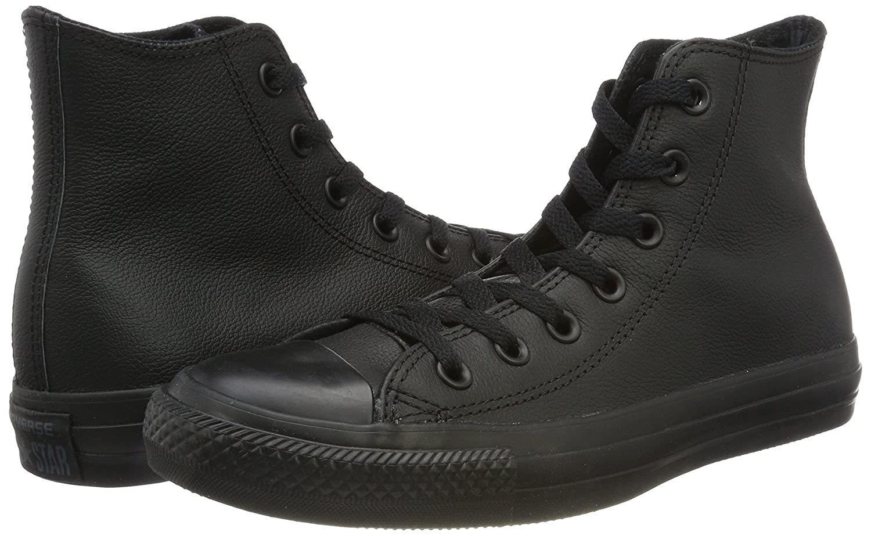 Converse Leder All Star, schwarz Unisex - Erwachsene Sneaker schwarz Star, Mono 0513f1