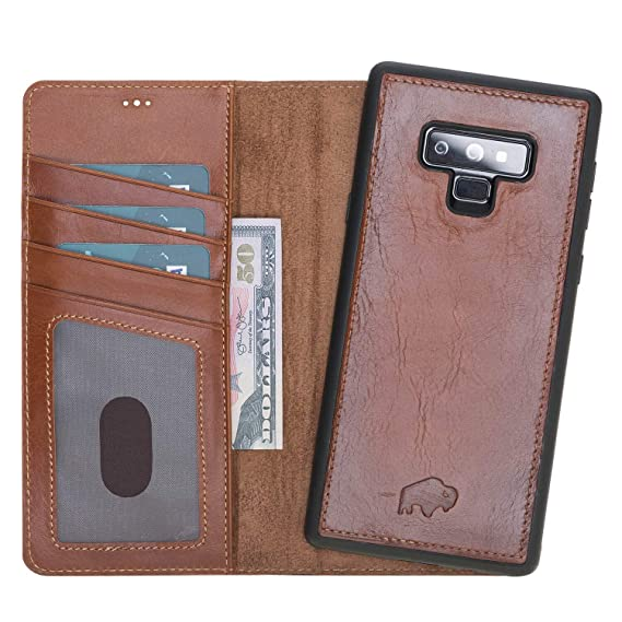 factory price cc32d b96fa Samsung Note 9 Leather Case by Burkley, Leather Wallet Folio Case with  Detachable Snap-on Back Cover for Samsung Note 9 | Book Style Cover with  Card ...