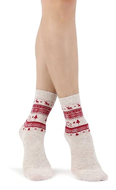 Mixmi Boutique Novedad de avena de mujer Calcetines de Navidad hermosa con adornos de Navidad tradicionales