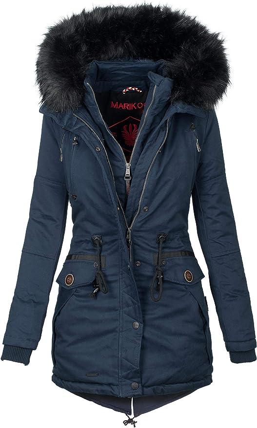 Marikoo Designer winterjas voor dames, warme winterjas