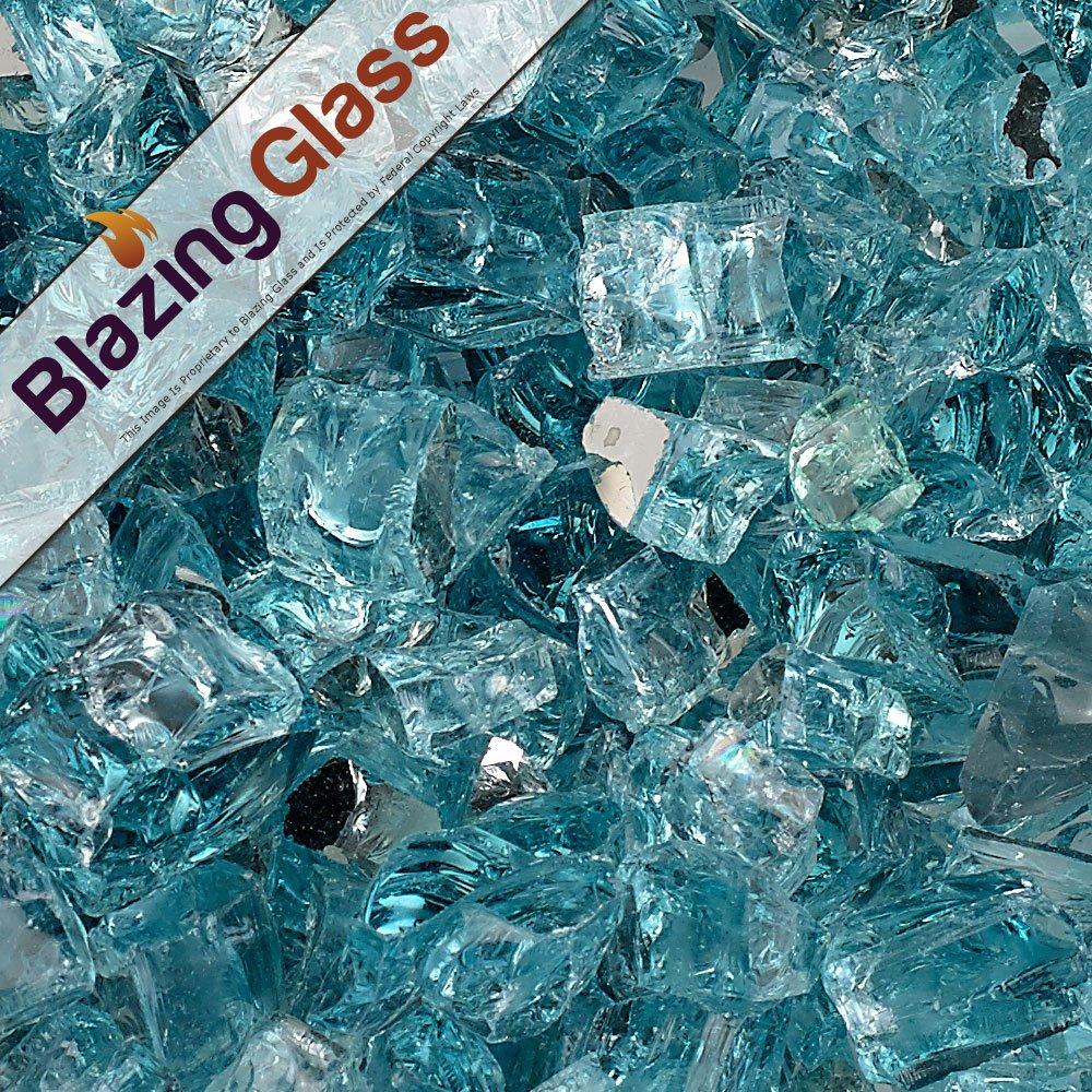 Blazing Fireglass 10-Pound Reflective Fire Glass with Fireplace Glass and Fire Pit Glass, 1/2-Inch, Azuria Blue