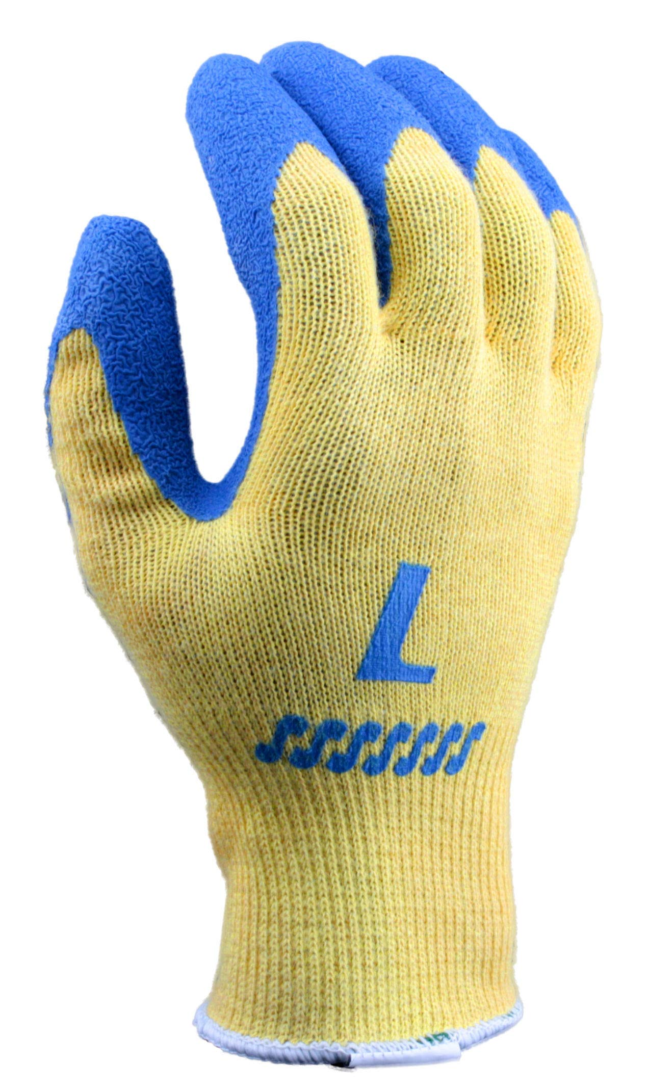 Stauffer Kevlar Glove with Blue Crinkle Rubber Coating, Cut Level A2, Large, (Pack of 12) by Stauffer Glove & Safety (Image #3)