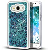 KC Liquid 3D Bling Glitter Stars Moving Case Transparent Hard Back Cover for Samsung Galaxy J7 2015 (J700F) - Blue