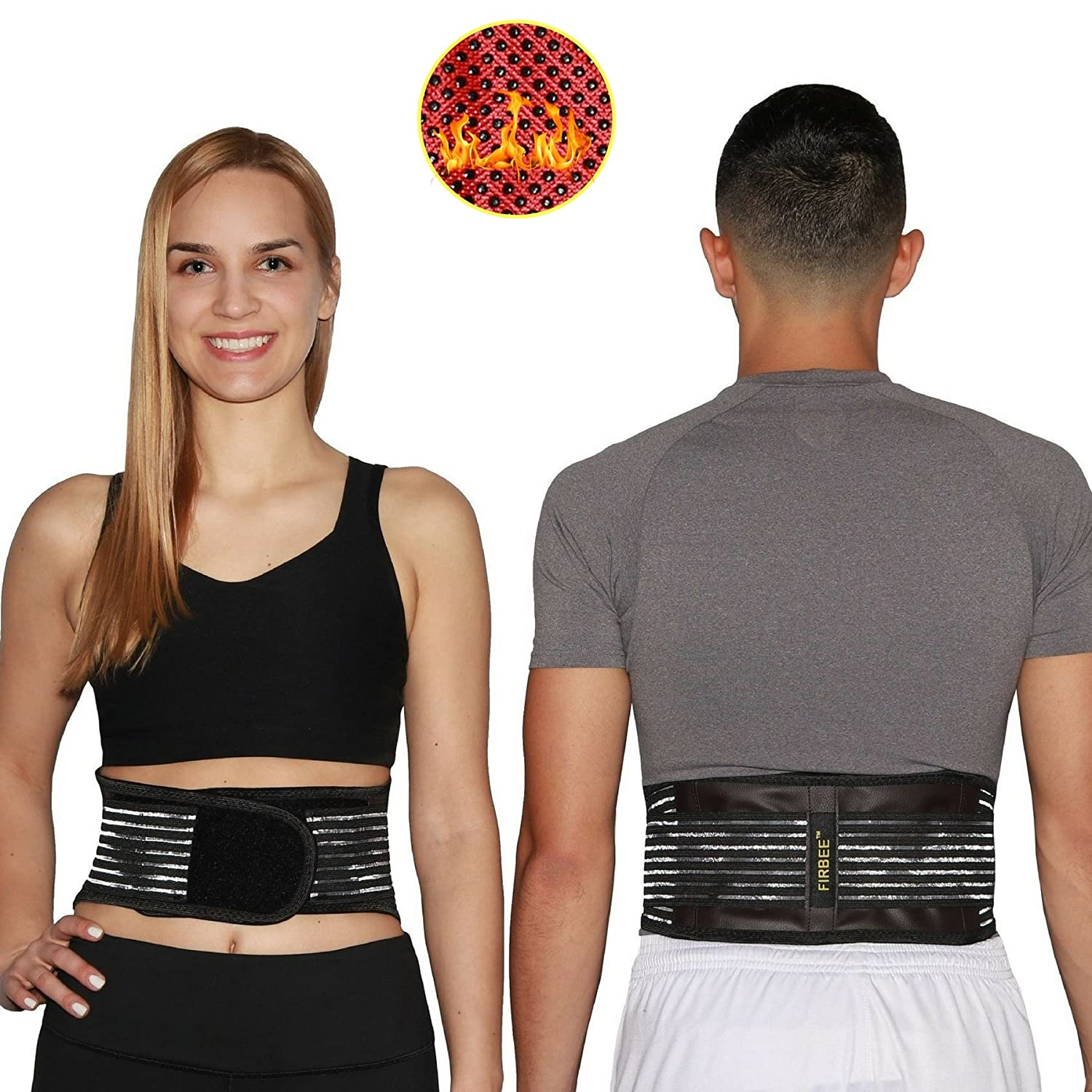 FIRBEE Self-Heating, Tourmaline and Magnetic Therapy Belt for Pain Relief and Lumbar Support | Lower Back Brace and Waist Trimmer | Bonus Drawstring Backpack
