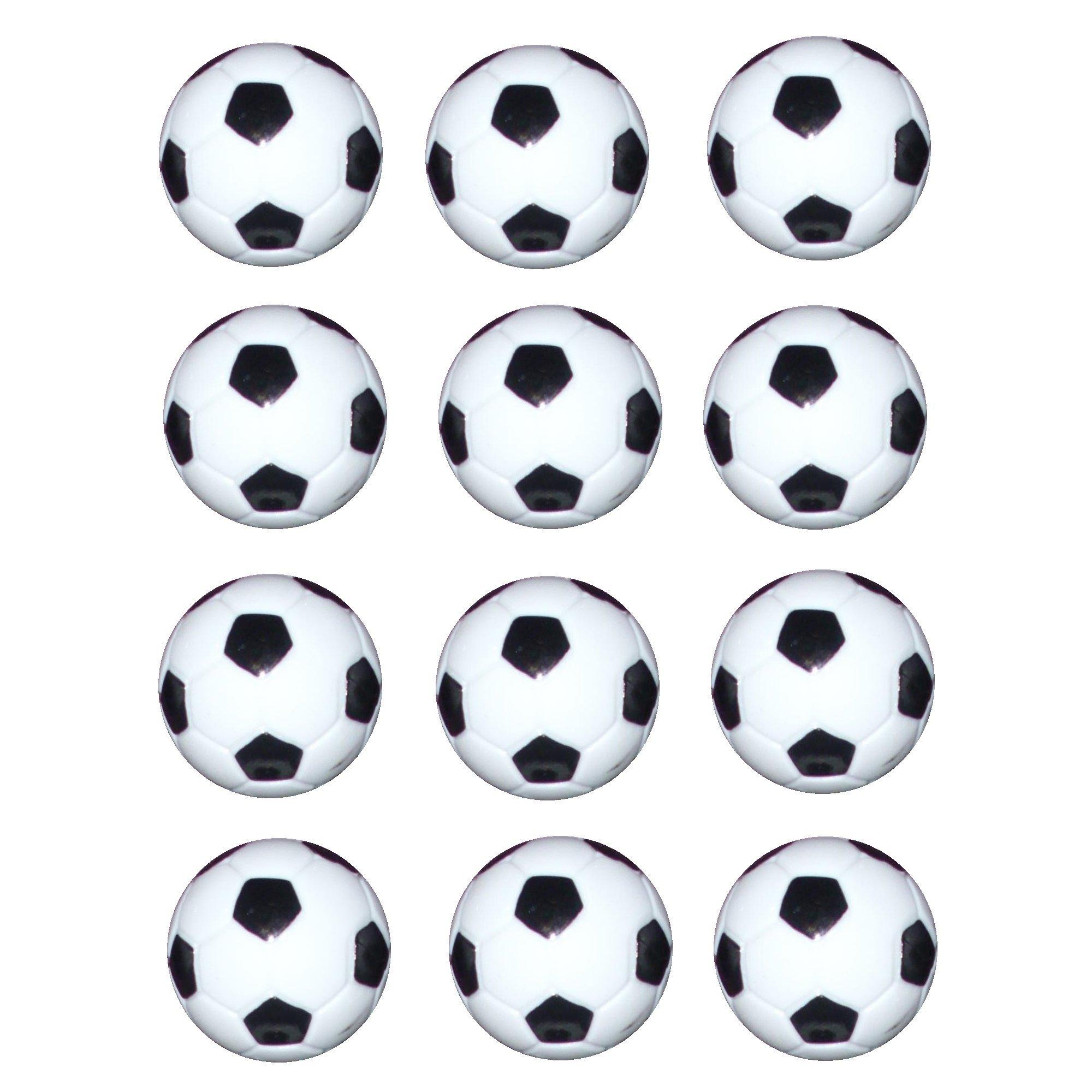 Vebere 12 pcs 32mm Small Plastic Soccer Black / White Table Foosball Ball