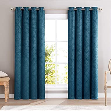 HLC.ME Redmont Lattice Thermal Insulated Energy Efficient Room Darkening Privacy Blackout Grommet Curtain Panels for Bedroom - Light Blocking - Set of 2-54  W x 96  L Inch Long (Teal Blue)
